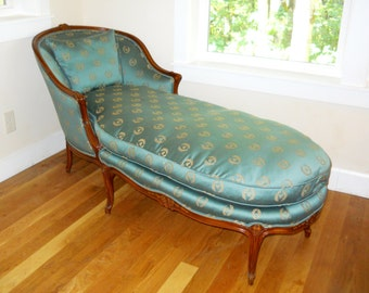 Antique French Country Louise XV Bergere Chair Chaise Lounge Day Bed Napoleon Bee Laurel Wreath Turquoise Emerald Green Silk Carved Wood