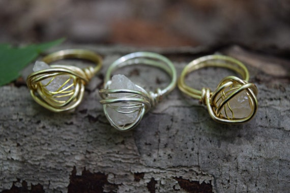 Rose Quartz Ring Raw Quartz Ring Raw Crystal Ring Wire
