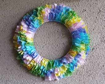 Pastel Colors Wall Hanging Wreath  18 in diameter Blue, Pink, Yellow, Green Bedroom Bridal Door Vintage Fabrics Dorm Baby Shower Nursery