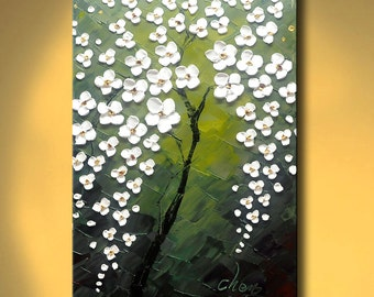 contemporary wall art,Palette Knife Painting,colorful Flower painting,wall decor ,Home Decor,Acrylic Textured Painting ON Canvas by Chen h09