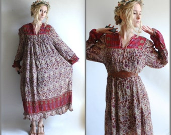 Long Sleeve Indian Gauze Cotton Tent Dress festival Boho Hippie Ethnic Floral Tunic Midi Maroon Burgundy