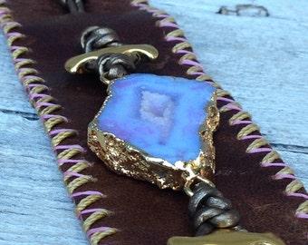 Cyrstsl Druzy Geode leather cuff