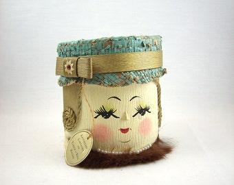 Vintage Lady Head Storage Container Bath Accessory, Bathroom Decor, Tissue Roll Holder