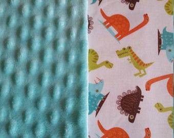 Baby Blanket Cotton Dinosaur Minky backing 19 colors Carseat Blanket Crib Blanket Minky Blanket