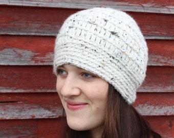 Satin Lined Tweed Beanie, Womens winter hat, warm winter hat, womens beanie hat, satin lined hat