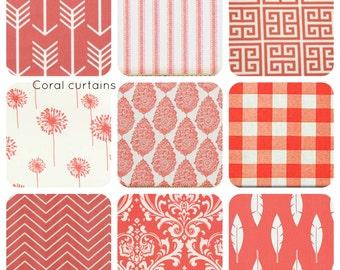 Coral Curtains ,Coral Window treatments - Valance - Drapery - Nursery for girls - Nursery Decor - Living room - Home Decor