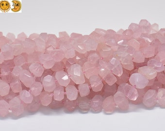 15 inch strand of Madagascar Rose Quartz faceted nugget beads,centre drilled beads 11-13x17-22mm