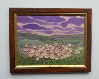 fiber art textile pictures landscape  embroidery art