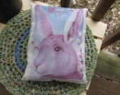 Easter Bunny Accent Pillow Tuck Rustic Cotton Colorful Soft Handmade Country Blue STWOFG