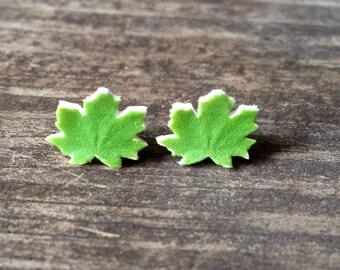 Maple leaf post earrings, nature earrings, nature jewelry
