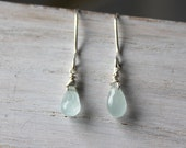 Aquamarine Earrings - Silver Dangle Earrings - Aquamarine Jewelry -  Drop Earrings- Dainty Earrings- Handmade Jewelry- Gemstone Jewelry