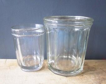 2 antique french glass Jam Jars, 1940s, Vintage jar, Confiture, Pot verre, France, Retro kitchen, Country house