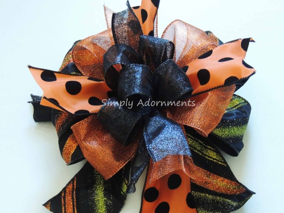 Black Orange Halloween Bow Halloween Polka dots Lantern Bow Halloween Wreath Swag Bow Trick or Treat Halloween Party Decoration