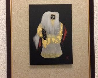 Framed etching of Kabuki performer.