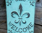Welcome Sign for Front Door - Outdoor Welcome Sign, Welcome Sign Vertical, Fleur de Lis Wall Decor, Welcome Sign Wedding, New Orleans Decor