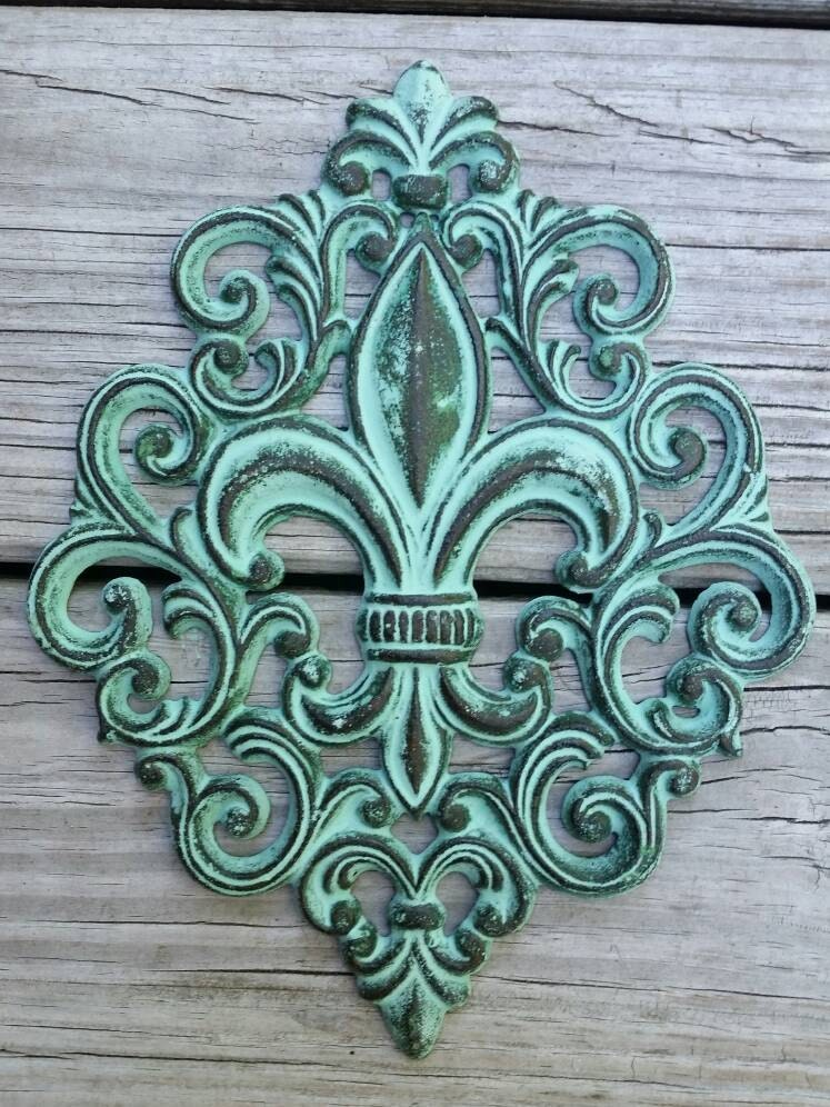Cast Iron Fleur De Lis Wall Plaque Cast Iron By