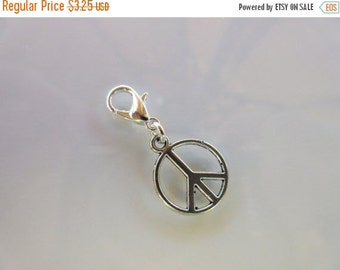 20% OFF SALE Peace Sign Clip-On Charm Tibetan Silver with silver lobster clasp--zipper pull, charm bracelets, necklace charm