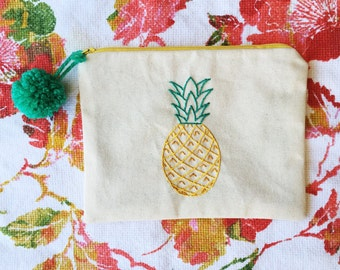 Pineapple Pencil Pouch handmade hand embroidered zippered canvas pouch makeup bag travel clutch fruit pencil case