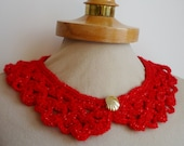 Red Peter Pan Collar with glitter red thread, Crochet Collar, red color, Lace Collar, Detachable Collar Necklace, red twinkle crochet Collar
