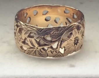 Gold Floral Band - Wide 14k Yellow Gold Leaf and Vining Flower Ring