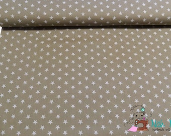 0,5 x 1,40 m COTTON fabric STARS 1 cm, SAND, white, 100% cotton