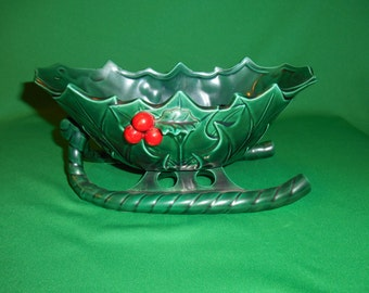 """One (1), Vintage,  Lefton, 8 1/4"""" Medium sleigh # 1346, in the Green Holly Pattern."""