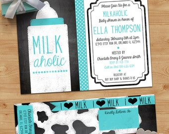 Milkaholic Baby Shower Invitation and Address Labels - I LOVE Milk - Baby Boy or Girl - Blackboard, Chalkboard - Custom, Printable Designs