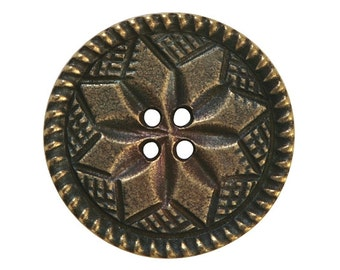 2 Lucinda 15/16 inch ( 25 mm ) Susan Clarke Four Hole Metal Buttons Antique Brass Color