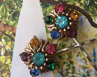 Decorative Hair Pins Czech Bridal Multi Color Filigree Hair Jewelry Bobby Pins