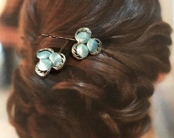Decorative Hair Pins Vintage Bridal Blue Ocean Beach Shell Bobby Pins