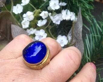 Blue Deco Ring Czech Molded Glass Bohemian Victorian Floral 1910 1920 Cobalt Sapphire