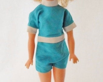 """ON SALE Vintage 1962 Ideal Tammy Doll 12"""" Tall, Original Clothes Turquoise Blue Jumpsuit Suit, Tammy Doll Stand, Collectible Doll"""