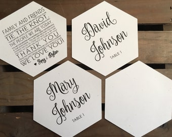 Hexagon Place Cards - Custom - Reception Thank You - MODERN - Geometric - Recycled - Eco - Printed - DIGITAL - DIY - Printable