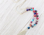 Mixed color agate beaded gemstone & gold tassel layering necklace