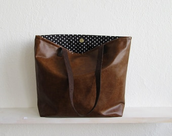 Chestnut Tote Bag, Rustic Leather, Distressed Rustic Look, Casual tote, Everyday tote, Vegan, Handbag