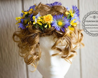 Purple and Yellow Haircrown / Wreath (Two Sizes)