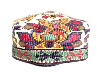 Vintage Needlepoint Tapestry Uzbek Cap Hat