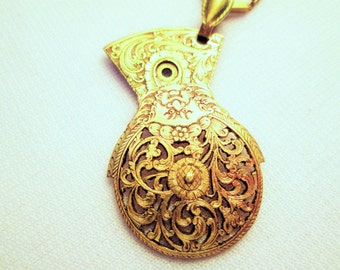 18th Century FUSEE BALANCE COCK Necklace With Face Brass Gold Vintage Pocket Watch Parts Guilloche Hand Pierced Pendant by DKsSteampunk
