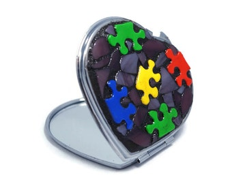 Double sided Mirror, Mosaic Heart Make Up Mirror, Puzzle Pocket Mirror, Autism Awareness, Heart Mirror, Purple Heart, Puzzle Heart Mirror