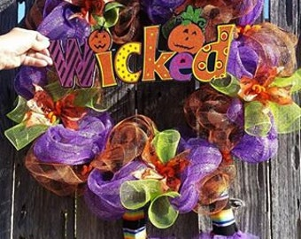 Purple, Green and Orange Halloween Mesh Wreath