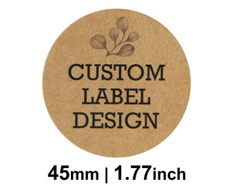 45mm Circle (1.77 inches) Kraft Round Custom Stickers/Labels for Product Labels, Wedding Favours, Packaging