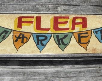 Flea Market Sign, wooden sign, original FM3