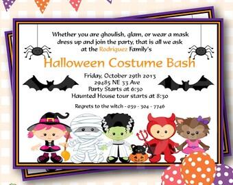 Halloween Birthday Invitations, Costume Party Halloween Invitations, Costume Party Birthday Invitations, Costume Party Invites - H28