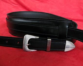 Handmade Black Leather Guitar Strap with Italian buckle