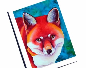Fox Art Card Red Fox Watercolor Card Blank Note Card Forest Animal Card Cute Fox Art Woodland Animal Fox Stationary Modern greeting Card