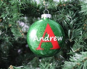 Red and Green Glitter Personalized Monogram Glass Ornament