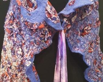 Purple Silk chiffon and merino wool nuno felted hand made vest, shrug, art wear