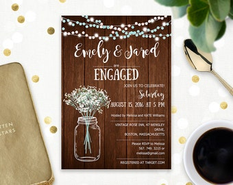 Rustic Engagement Invitation Printable Mason Jar & Baby's Breath Wood Engaged party invitation template PDF Digital Engagement party invite