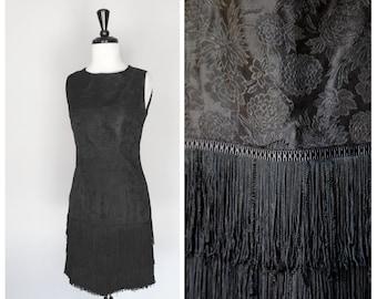 Gorgeous Vintage 1960s Floral Black Silk Brocade Sheath Dress w/ Fringe Hem