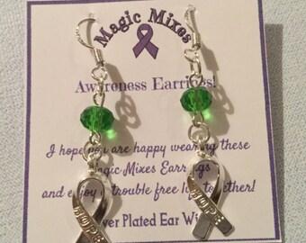 Green Awareness Earrings, Depression Awareness Earrings, 'Hope' earrings